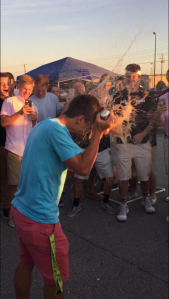 Ryan Stemle impresses the crowd with his antics