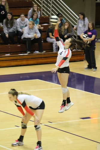 Senior setter Taylor Hammill jump serves during the third set in the semi state championship game against No. 1 Cathedral. Cathedral was the top-ranked team in the nation, but Center Grove took them to five sets before falling 15-10 in the final set.