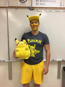 Kevin Cox takes a more childish approach on career day by dressing as every child's dream job, a Pokémon