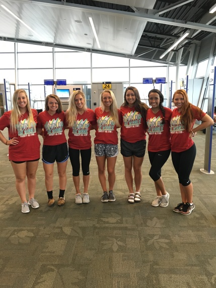 The dance champions pose for a picture in the airport waiting to board their plane to Orlando.