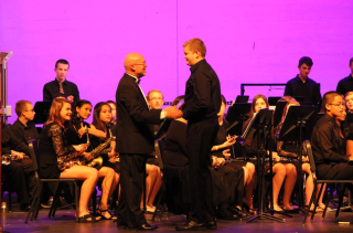 Matt Harris receives the Outstanding Brass Player Award for the Symphonic Band.