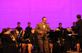 Samuel Fritz, Band teacher at CGMSC, performs his solo at the concert