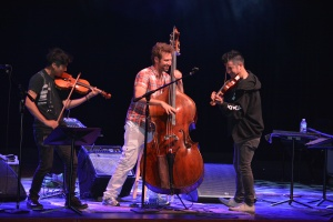 Charles Yang, Ranaan Meyer and Nick Kendall perform a mashup of Britney Spears and Vivaldi. The group, called Time for Three, performed for various CG and and orchestra members.