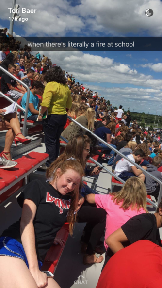 Students are seated in the bleachers of Ray Skillman stadium for the entirety of tenth period. Photo courtesy of Tori Baer