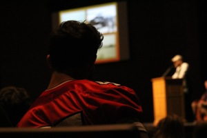 A Center Grove Student listens attentively to a veteran guest speaker during the Veterans Day Program last Friday