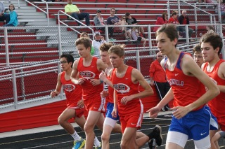 Boys distance runners Michael Goebel, Daniel Russell, Graham Kanwit and Aaron Toland start the 3200 meter run.
